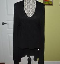 VERSACE COLLECTION CAPE  V-NECK PULLOVER WOOL/CASHMERE BLACK SZ-IT-40/US-6