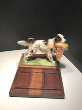 English Setter Ceramic Wooden Desk Organize