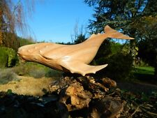 Wooden Whale Carving - Hand Carved Humpback Whale 30cm