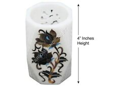 """4"""" Marble Pen Stand Holder Black Onyx Floral Inlay Marquetry Study Decors H1411"""