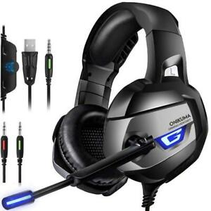 UK K5 Gaming Headset for PS4 Xbox One PC Laptop with Noise Cancelling Mic Black