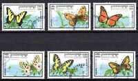 Mariposas Camboya (4) serie completo de 6 sellos matasellados