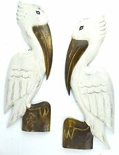 SET 2 HAND CARVED WOOD WHITE PELICAN HANG WALL PLAQUE ART TROPICAL BIRD PICTURE