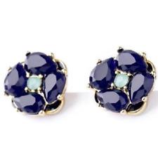 Sapphire Blue Flower Crystal cluster stud earrings ~ The Kate