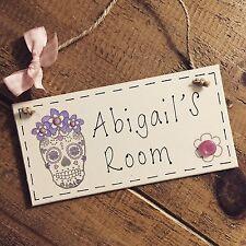 Personalised Name Plaque Door Nursery Bedroom Sign Gift Girls Sugar Skull Room