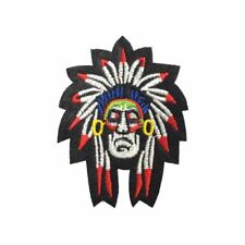Red Indian Chief (Iron On) Embroidery Applique Patch Sew Iron Badge