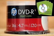 50 HP 16X DVD-R WHITE InkJet Printable DVD CB + 100 Green CD/DVD Paper Sleeve