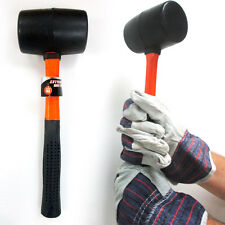 "Rubber Mallet 16 Oz Fiberglass Hammer 11.5"" Long Handle Tools Home Craft Black"
