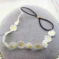 NEW Women Girl White Daisy BOHO Lace flower Beach Hair Headband Head band Prop