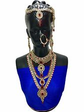 Indian Bollywood Style Full Wedding Fashion Bridal Gold Plated 8 PCS Jewelry Set