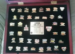 1998 Nascar Winston Cup Pin Collection with Framed Glass Display Case Amazing!