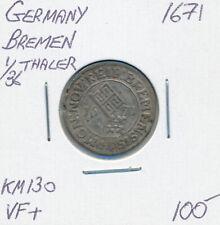 GERMANY BREMEN 1/36 THALER 1671 KM130 - VF+