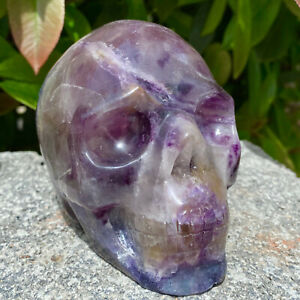 2.38LB Natural Fluorite Skull Quartz Manual Sculpture Crystal Skull Healing.