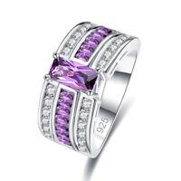 Wedding Ban Amethyst & White Pink Blue Topaz Gemstone Silver Ring Size 6 7 8 9