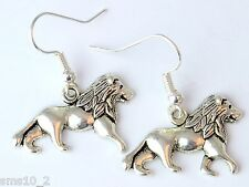 Hand Made Silver Colour Lion Earrings HCE330