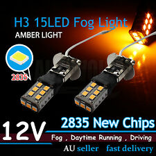 2x H3 2835SMD 15LED Car Head Fog DRL Driving Light Lamps Bright AMBER/YELLOW 12V