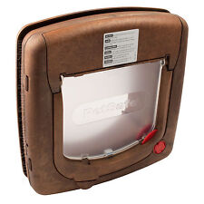 New Staywell 320 Brown Deluxe Woodgrain 4 Way Locking Cat Flap Door With Tunnel