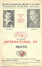 Neath V ETR Stephen's International XV 9 APR 1953 RUGBY programma a Neath