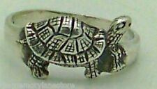ADORABLE ESTATE PRETTY TURTLE STERLING SILVER BAND RING, SIZE 7.75 or P-1/2