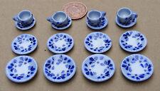 1:12 Scale 16 Piece Blue Spotted Ceramic Tea Set Dolls House Miniature TS16