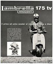 PUBBLICITA' 1963 LAMBRETTA 175 TV INNOCENTI SCOOTER  FRENO A DISCO FUORISTRADA