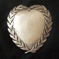 Metal Sacred Heart Ex Voto ? Church Saint Engrave Relic Award Wreath Catholic