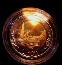500 Lire Bimetallico  1989  Proof Fondo Specchio