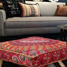 Indian Mandala Ottoman Cushion Square Floor Pillows Cover Throw Boho Gypsy Decor