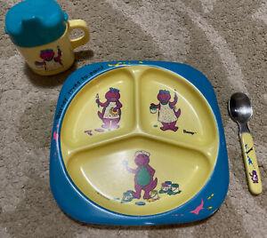 Vintage 3 Piece Barney Dinosaur Dinnerware Set Plate Cup Spoon 1992 Lyon Group
