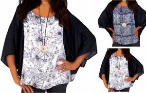 Batwing Poncho Cool Tunic Top 22 24 26 Black White Batik Boho Summer Fashion