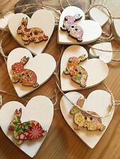 Heart Garland/Bunting Bunnies Shabby Chic Real Wood Hearts Double Sided 7ft