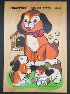 Vintage Fisher Price Wooden Puzzle DOG and PUPPIES 8 pieces Childrens Toy 511