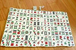 Lot of Mahjong Tiles Cream Green Crafts Incomplete Replacement Game