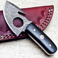 """NEW CUSTOM HANDMADE DAMASCUS 4.75"""" MINI HUNTING KNIFE RAM HORN HANDLE - UT-3649"""