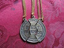 "3 Piece Set Silver or Antique Gold Best Friends Charm Necklace 20"" Chains"