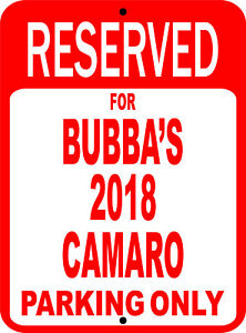 """Personalize CAMARO Chevy Novelty Reserved Parking Street Sign 9""""X12"""""""