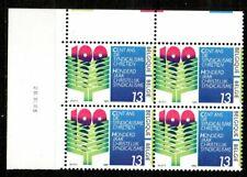 100 ans du Syndicat chrétien - bloc de 4 timbres neufs avec date 26 . XI .86.