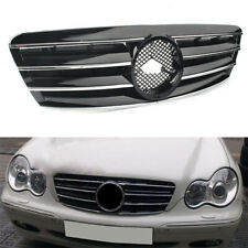 New Front Grill Grille For Mercedes Benz C class W203 2000-2006 Chrome Black
