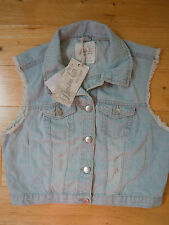 Button Casual Denim Waistcoats for Women