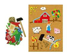 NEW Educational TAP A SHAPE Toy Wooden Hammer & Nails - FARM House & Animals Set