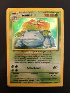 Base Set Venusaur Holo 15/102 POOR CONDITION Pokemon Card