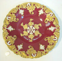 """Antique MEISSEN German Porcelain ROCOCO Painted Red Gold 11"""" Cabinet Plate Bowl"""