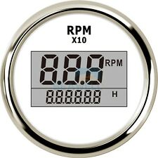 Boat Marine Digital Tachometer W/ LED Hourmeter Outboard Engine Tachometer Gauge