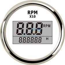 Boat Marine Digital Tachometer W/ LED Hourmeter Outboard Engine Tachometer Gauge