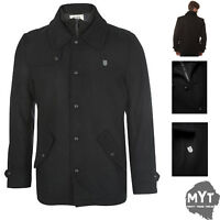 Fly 53 Mens Winter Long Coat Porter Jacket Black Military Collared New Stylish