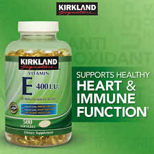 Kirkland Signature Vitamin E 400 IU, 500 Softgels, Strong Antioxidant, Exp 2020