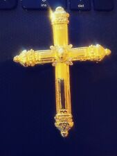 Vintage Cross Brooch Pin Gold Tone