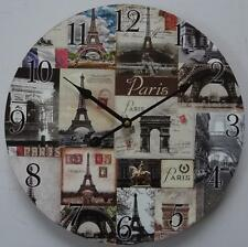 STUNNING PARIS Clock with the  EIFFEL TOWER & other Paris scenes.