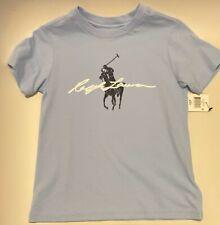 NWT Polo Ralph Lauren Toddler Boys Big Pony Logo Cotton Jersey Tee Blue Sz 4/4T
