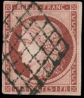 France #9 Used CV$650.00 1849 1Fr Carmine Diamond Grid Cancel Signed Scheller